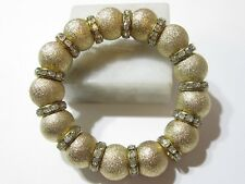 Contemporary Glittery Gold Tone Large Bead Crystal Wheel Spacers Fancy Stretch