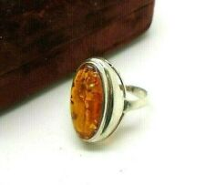 *NEW* Sterling Silver Large Amber Ring Boho Style Crystal Dress Ring 925 Size N
