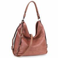 Dasein Womens Handbags Soft Faux Leather Water Wash Hobo Shoulder Bag Purse