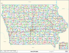 Iowa State Zipcode Laminated Wall Map