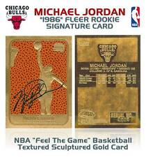 MICHAEL JORDAN 1996 Fleer ROOKIE Feel The Game Signature 23KT Gold Card Sculpted