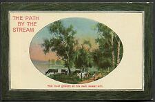 C1910 Studio Art Card 'The Path by the Stream' Country Scene
