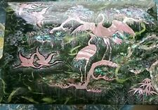 PEARLESCENT BIRD CRANE FLAMINGOS JEWELRY BOX LARGE MIRROR RED VELOUR LINED GIFT