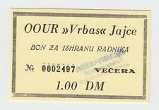 1 DM Germany Mark OOUR VRBAS JAJCE, Bosnia ex Yugoslavia, Local note bons coupon