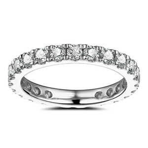 Sterling Silver Flawless 1.2ct Moissanite Halo Band Wedding Anniversary Ring 6#