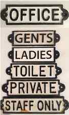 CAST IRON TOILET DOOR SIGN GENTS PRIVATE STAFF ONLY OLD ANTIQUE VINTAGE BATHROOM