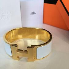 Classic Hermes Clic Clac Bracelet WHITE Enamel GOLD Hardware PM Bangle WIDE