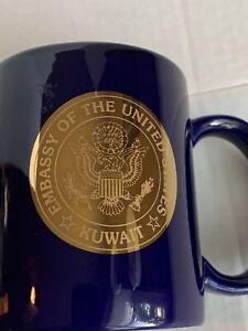 United States Kuwait Embassy Seal Cobalt Gilded Linyi Large Coffee Mug