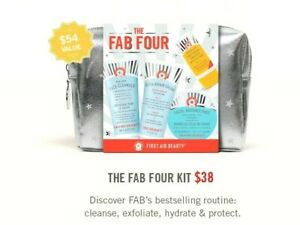 First Aid Beauty the fab Four face cleanser,ultra repair cream,facial Pads SET