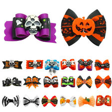 100pcs Halloween Dog Hair Bows with Rubber Bands Grooming Accessories Holiday