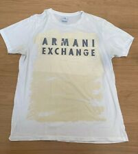 Vintage Armani Exchange Men's white logo t-shirt