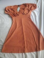 Boohoo short sleeve rib fit and flare mini rust dress small