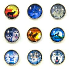 Noosa Style Chunks Snap Buttons Jewelry Charms Chunk Charm Snaps Wolves 18mm