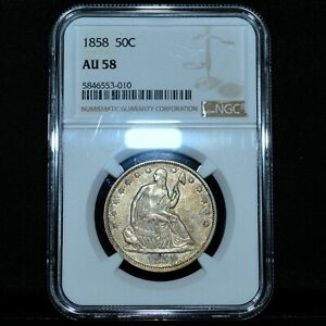 1858-P SEATED LIBERTY HALF DOLLAR ✪ NGC AU-58 ✪ 50C SILVER ALMOST UNC ◢TRUSTED◣