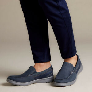 NEW MENS CLARKS COTRELL EASY NAVY COMBI SLIP ON CASUAL SIZE 11.5 M NIB