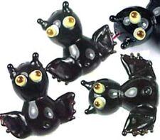 Lampwork Handmade Glass Black Bat Halloween Beads (6)