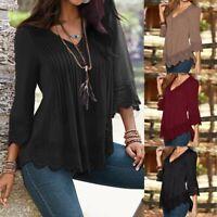 US STOCK Women Summer 3/4 Sleeve Pleated Shirt Tops Lace Crochet Blouse T-Shirt