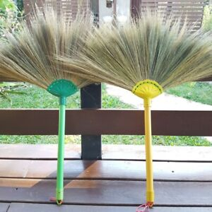 2X BROOMS SOFT STRAW GRASS Natural Handmade Thai Traditional Unique Kitchen Tool