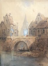 Paul MARNY (1829-1914) aquarelle vue d'une ville Normandie vers 1860