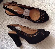 NUOVE Clarks Taglia 5 nero perla in pelle scamosciata punta aperta scarpe Sandali TIPO CHANEL Ritaglio 38EU