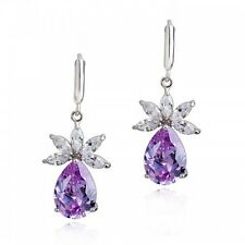 GORGEOUS 18K WHITE GOLD PLATED GENUINE CUBIC ZIRCONIA PURPLE DANGLE  EARRINGS
