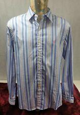 Ralph Lauren Mens Shirt Blue White Striped Custom Fit 16.5 L Cotton <<P2>>