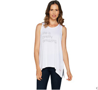 Peace Love World Affirmation Knit Tank with Asymmetric Hem White/Life Size XS