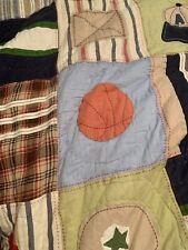 Pottery Barn Kids Teen Sports Patchwork Quilt Multicolored 86�x86� 100% Cotton