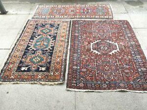 antico-swiss  3 Beautiful Antique indoKARAJA rugs 2`x4`2 and 4`x5` and 2`8x4`3
