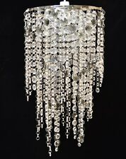 CHANDELIER LARGE CLEAR & SMOKEY CHROME JEWELLED ACRYLIC PENDANT CEILING SHADE