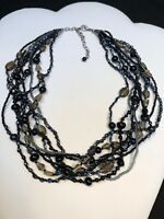 Vintage Boheniman Topaz Black Brown Glass Seed Bead Multi Strand Necklace Boho