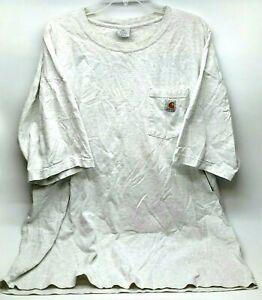 Carhartt Work Shirt Mens Size 2XL XXL White Short Sleeve Crew Neck Outdoor