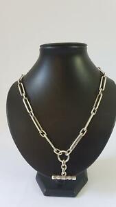 Heavy Necklace Length Australian 1930s Sterling Silver Albert Watch Chain 71g