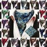 Men's Colorful Paisley Floral Jacquard Handkerchief Ascot Tie Cravat Hanky Set