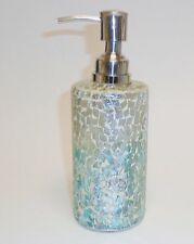 NEW BLUE+SILVER+CLEAR GLASS MOSAIC KITCHEN,BATHROOM SOAP,LOTION DISPENSER