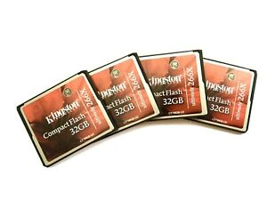 4 X Kingston 32 GB 266x Speed - Compact Flash Card - Red/Black Used