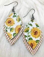 Sunflower / Pink Shell Glitter Canvas Faux Leather Earrings Double Layer