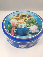 """Vintage Muppets Cookie Tin Candy Tin 7"""" Circular Container Miss Piggy Kermit"""