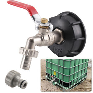 """UK IBC Tank Cap Adapter with Brass Tap&1/2"""" Snap On Hose Connector IBC ton valve"""