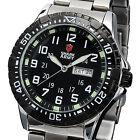 SHARK ARMY Black Silver Date Day Stainless Steel Quartz Sport Men Wrist Watch