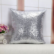 US Home Decor Glitter Sequins Solid Color Throw Pillow Case Cafe Cushion Cover