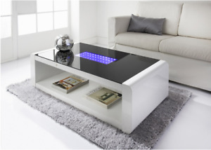 LED White High Gloss Coffee Table Glass Top Living Room Furniture H-0233
