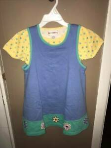 Gymboree Girls Size Large (4-5) Blue Jumper Dress with Yellow T-shirt 2 Piece Se