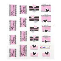 Valentines Nail Art Stickers Water Decals Glitter Pink Love Hearts Princess 101