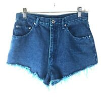 "Vintage L A Blues Women's Blue Jean Shorts Waist 29"" High Rise Cut-Offs Cotton*J"