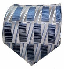 Savile Row Silk Wide Tie Blue and Gray Pattern