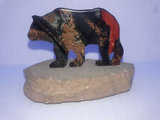"Bear Figurine Stone Base Coated Metal 2"" H"