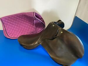 "Vintage Genuine Leather 18"" Horse Riding Brown Saddle"
