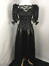 VTG 80s Prom Black LACE PUFFY BUBBLE SLEEVE Party UNION Bows Evening Dress Gown