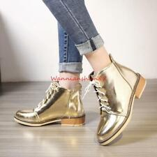 Womens British Style Lace up Round toe combat ankle boot Low Heel Shoes #3